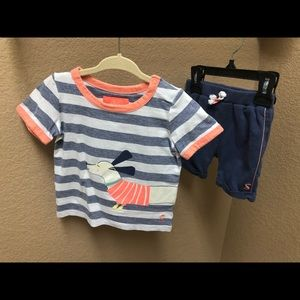 Joules striped short sleeve and shorts oufit